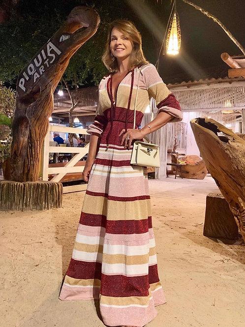 Vestido longo listras tricot com lurex Skazi Paolinha