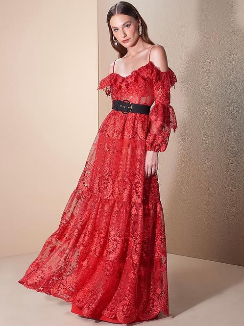 Vestido longo renda francesa vermelho Skazi