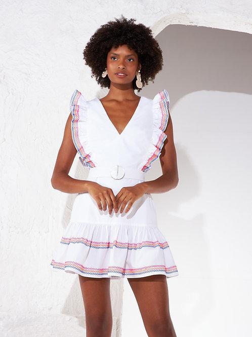 Vestido curto babados detalhes bordados em linha Skazi