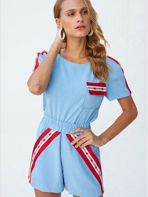Conjunto de short e blusa azul claro detalhes em listras tricot Skazi Sclub