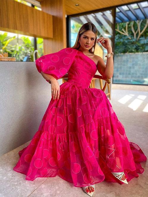 Vestido organza com poás bordados manga bufante  Skazi Thassia Naves