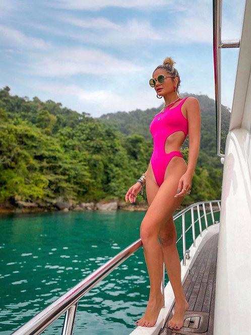 Maiô recortes pink Skazi Thassia Naves