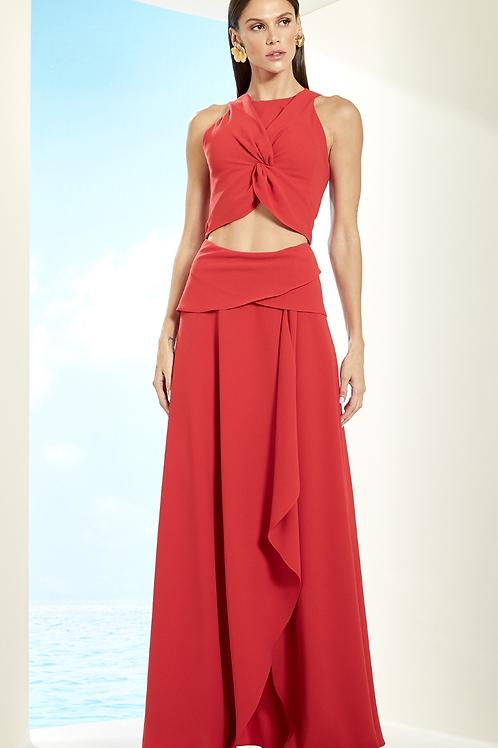 Vestido em crepe texturizado recortes fenda vermelho Skazi