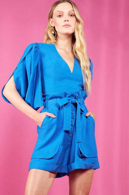 Conjunto blusa e short clochard azul Skazi Sclub
