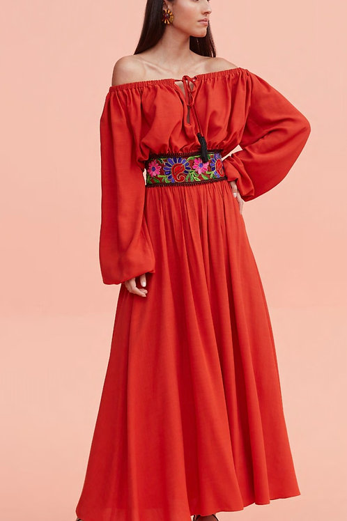 Conjunto blusa e saia detalhes bordados laranja Skazi Sclub