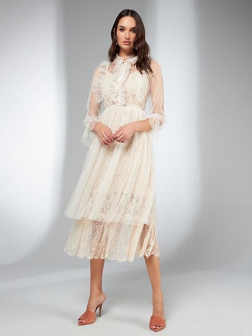 Vestido mídi detalhe tule e renda Skazi