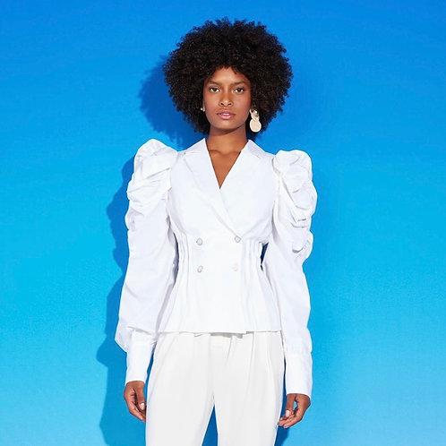 Camisa manga bufante com botões off white Skazi