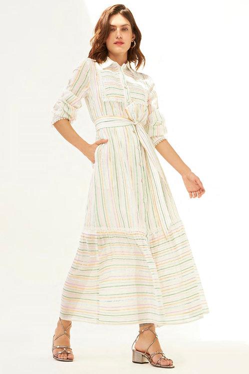 Vestido longuete manga longa off white listas multicolor Skazi Sclub