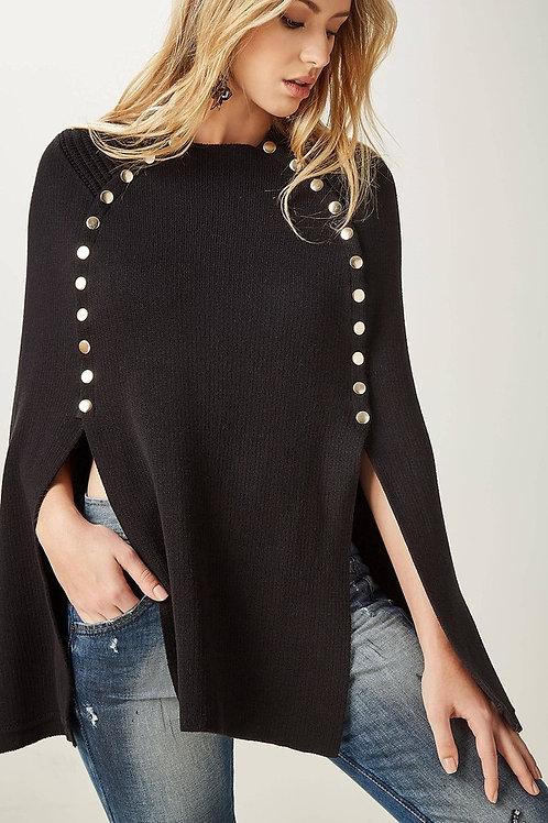 Poncho de tricot com detalhe em botões Animale preto