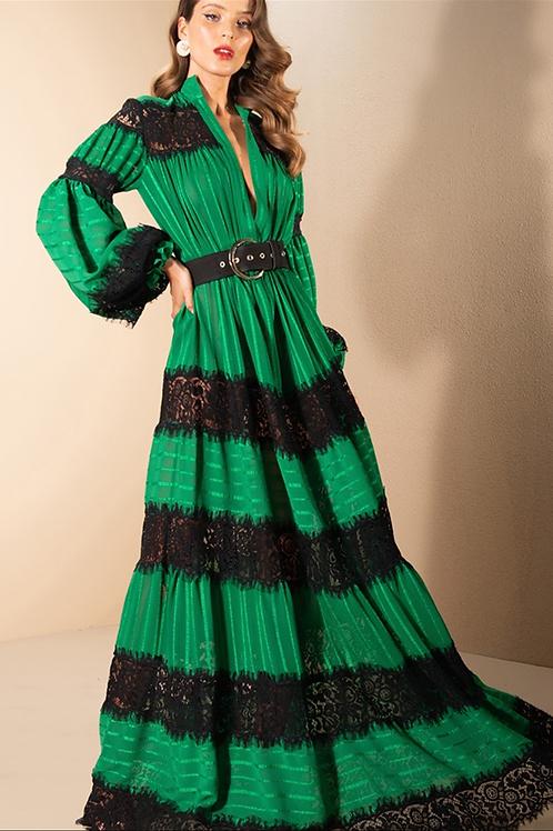Vestido longo manga longa com entremeios renda Skazi verde
