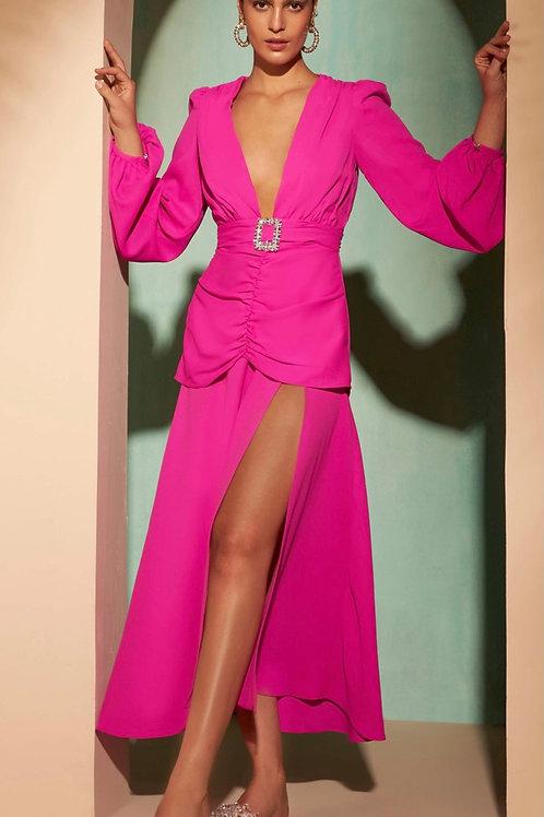 Vestido midi detalhe fenda pink Skazi Sclub