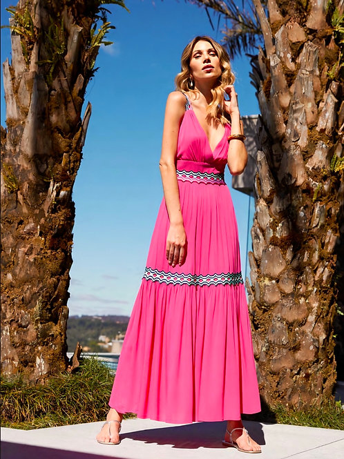 Vestido longo pink detalhes tricot Skazi Sclub