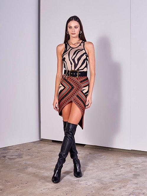 Conjunto de saia curta e body animal print Skazi
