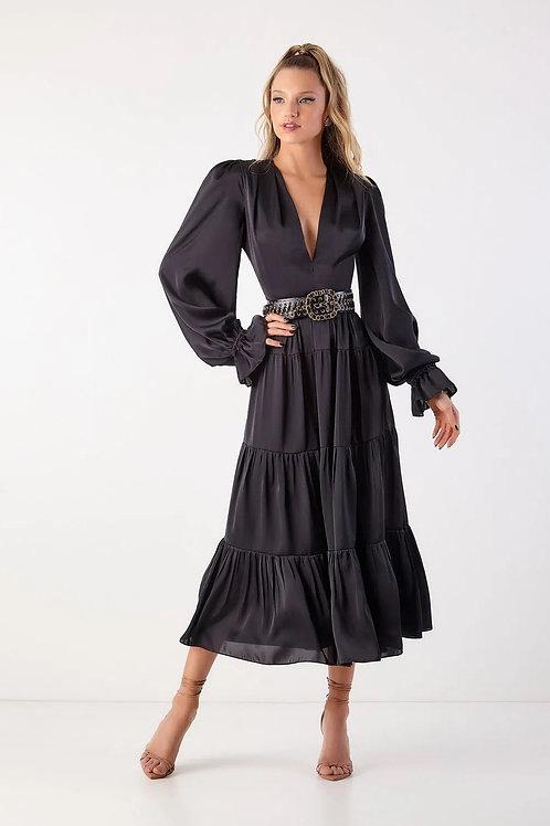 Vestido midi Alyne preto Fabulous Agilità