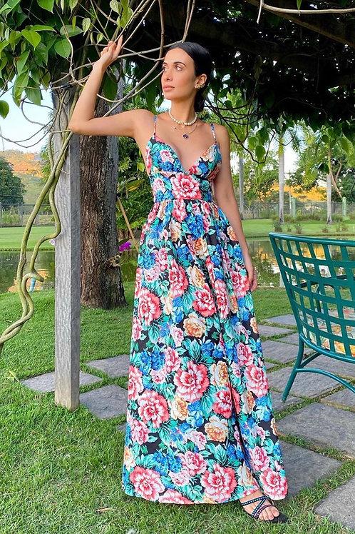 Vestido midi floral hortências alças Skazi Sclub