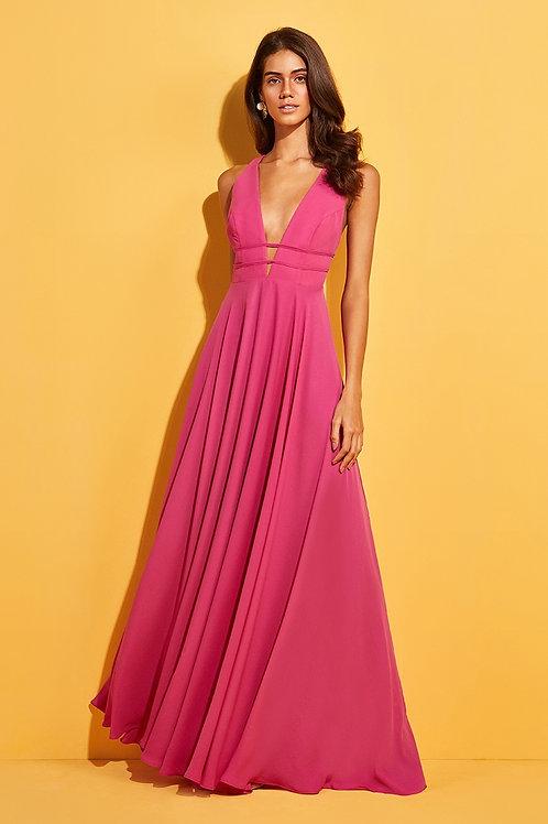 Vestido longo decote amarração Skazi Sclub rosa pink