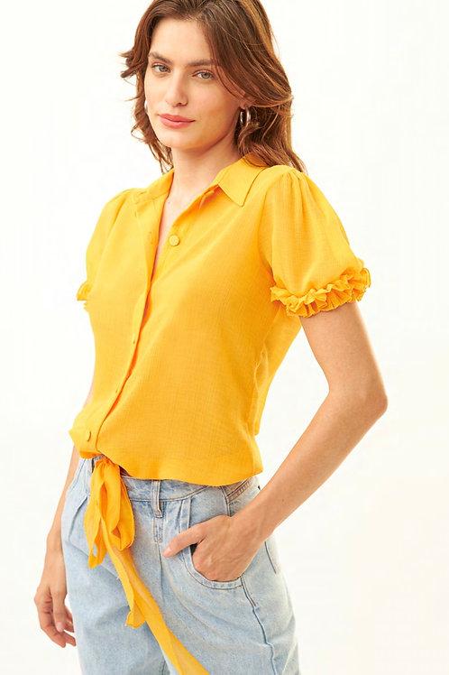 Camisa meia manga babados ruffles amarelo Skazi Sclub