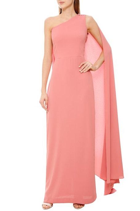 Vestido longo crepe alfaiataria capa Amissima rosa blush
