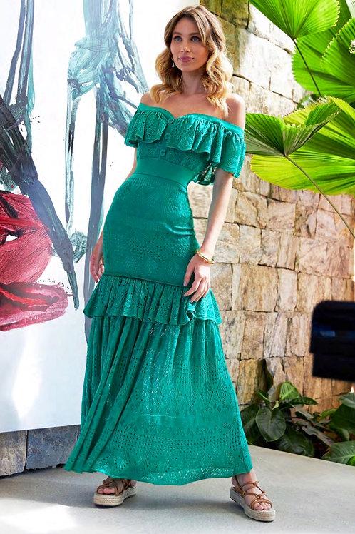 Vestido longo tricot verde Skazi Sclub