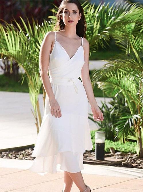 Vestido midi crepe babados - Amíssima off white