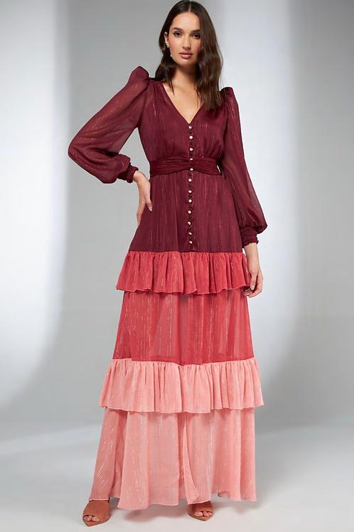 Vestido longo três cores detalhes fio de lurex Skazi Sclub
