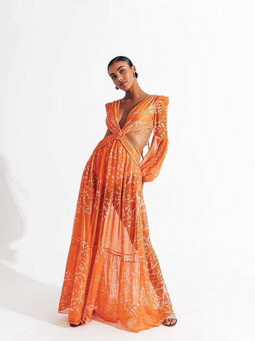 Vestido longo hot pants alga laranja PatBo