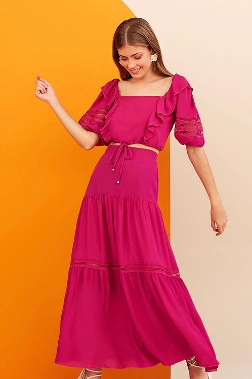 Conjunto de blusa e saia pink Skazi Sclub