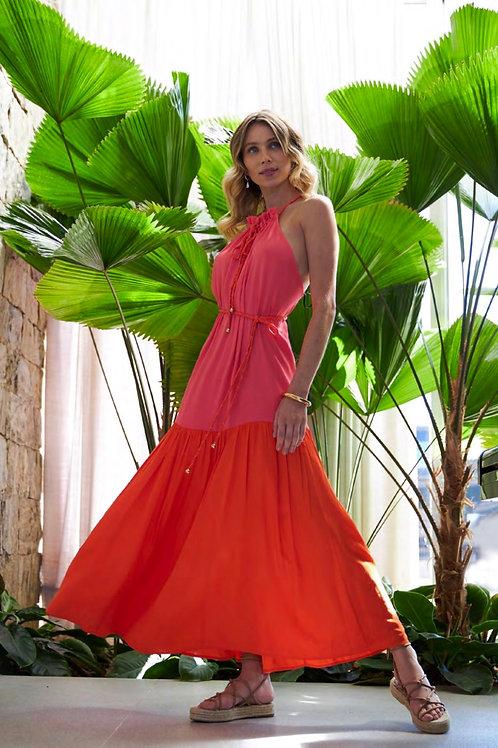 Vestido bicolor detalhe faixa Skazi Sclub