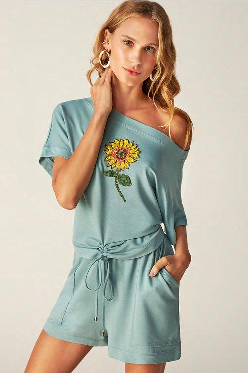Conjunto de short e blusa com girassol bordado Skazi Sclub azul