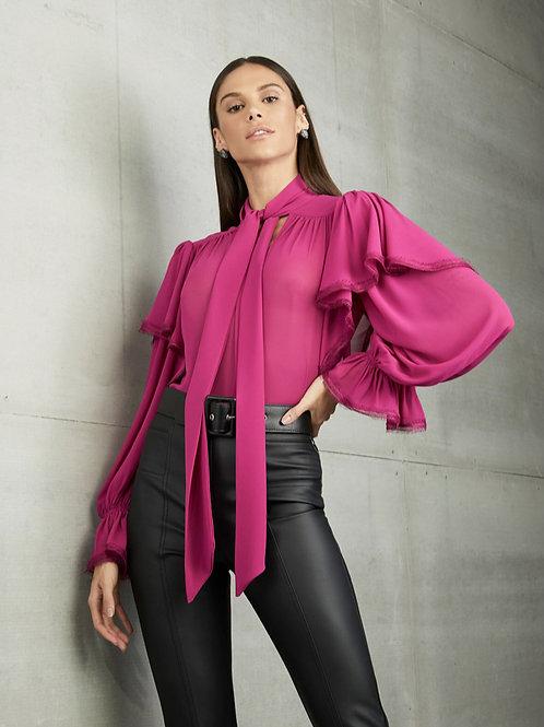 Camisa chiffon seda babados pink Skazi sclub