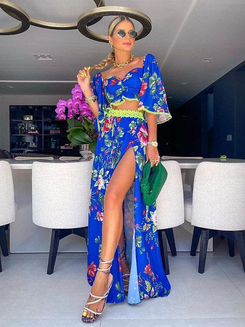 Conjunto cropped e saia detalhe rendas estampa azul Skazi Sclub Thassia Naves