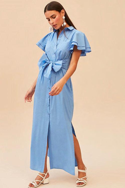 Conjunto blusa e saia amarração azul Skazi Sclub