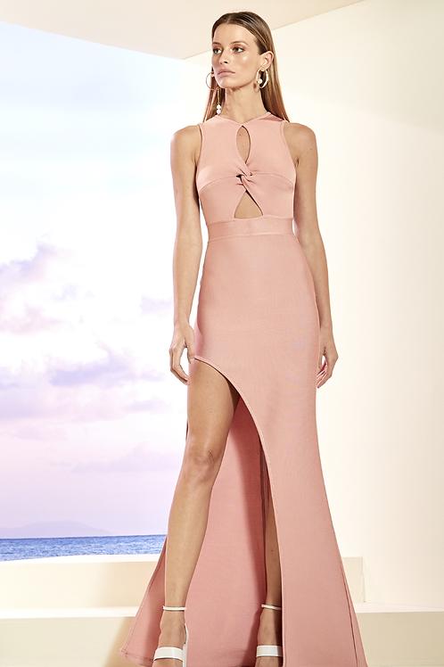 Vestido torsal frente aberta bandagem rosa Skazi