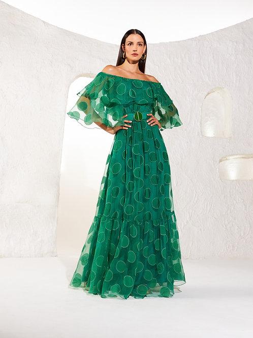 Vestido longo detalhe cinto bordado poa verde Skazi