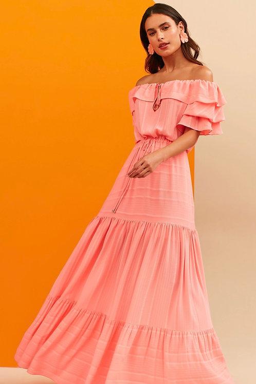 Vestido longo manga babados rosa Skazi Sclub off white