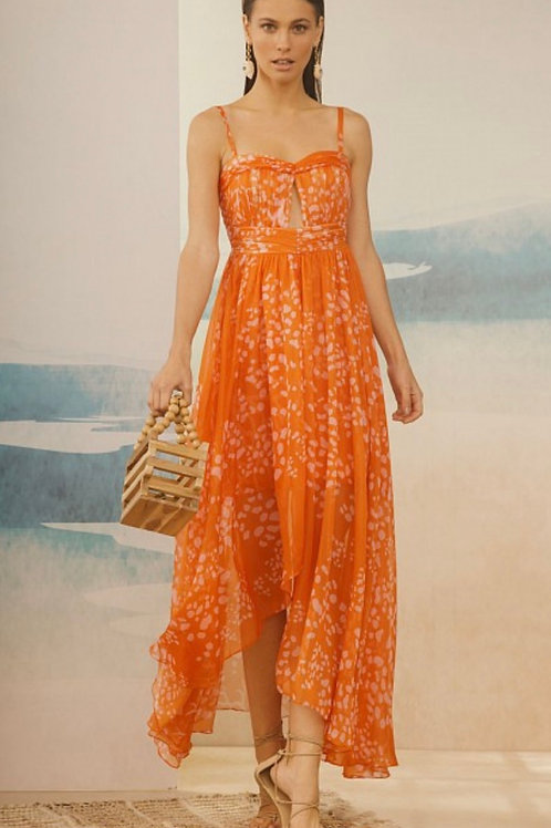 Vestido longo alga laranja PatBo