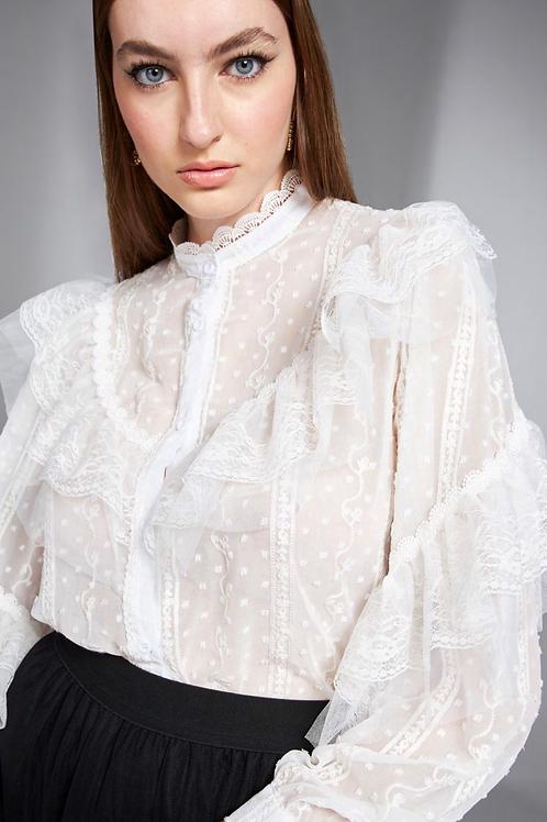 Camisa detalhe renda e babados off white Skazi Sclub