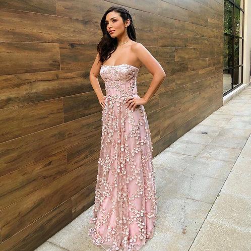 Vestido longo Serena flores 3D Fabulous Agilità Mariana Sampaio
