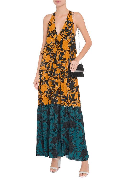 Vestido babado cintura estampa floral Animale