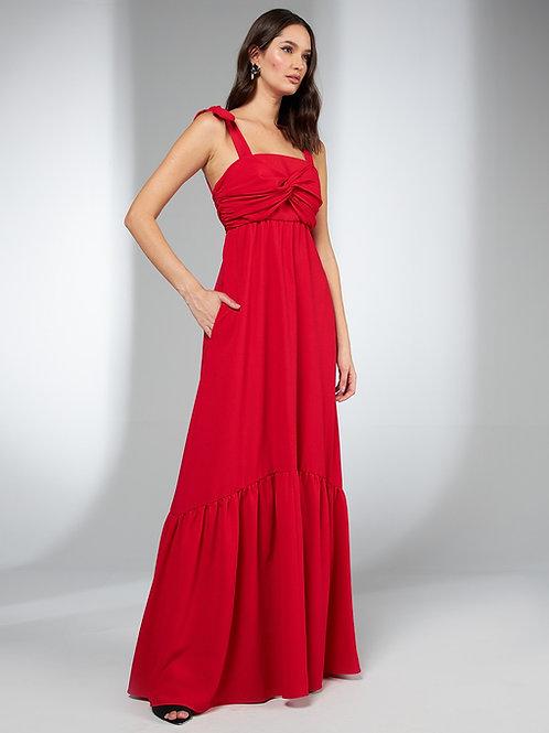 Vestido longo busto detalhe torcido vermelho Skazi Sclub