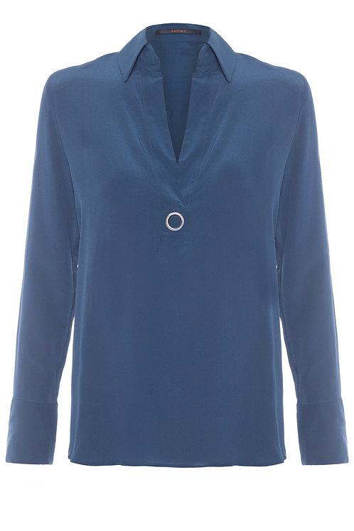 Camisa de seda pura Animale Polo Ilhos -  Azul mazar