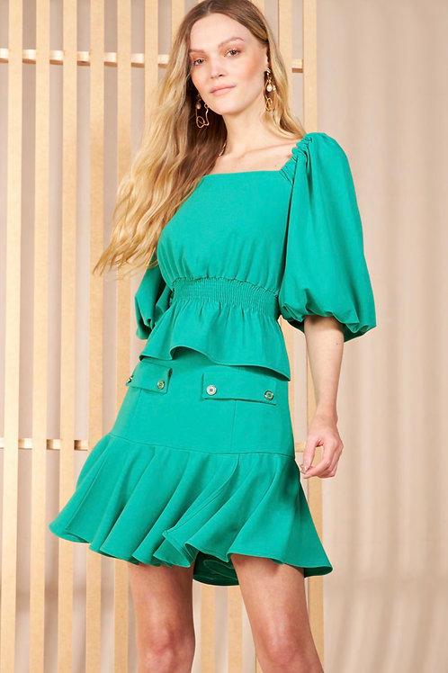 Conjunto blusa e saia verde Skazi Sclub