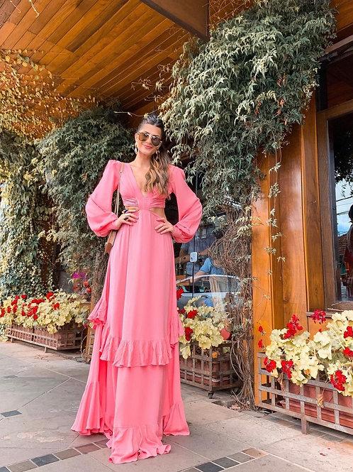 Vestido longo recortes rosa PatBo