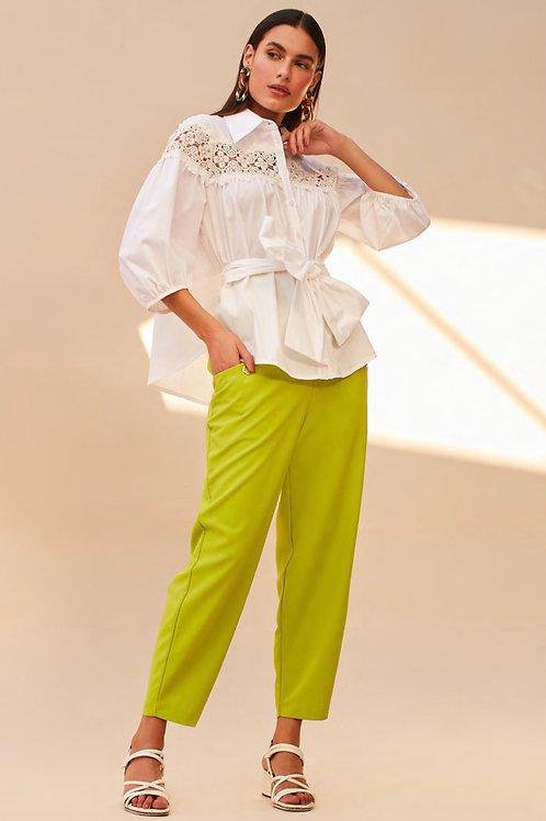 Camisa detalhe renda off white Skazi Sclub