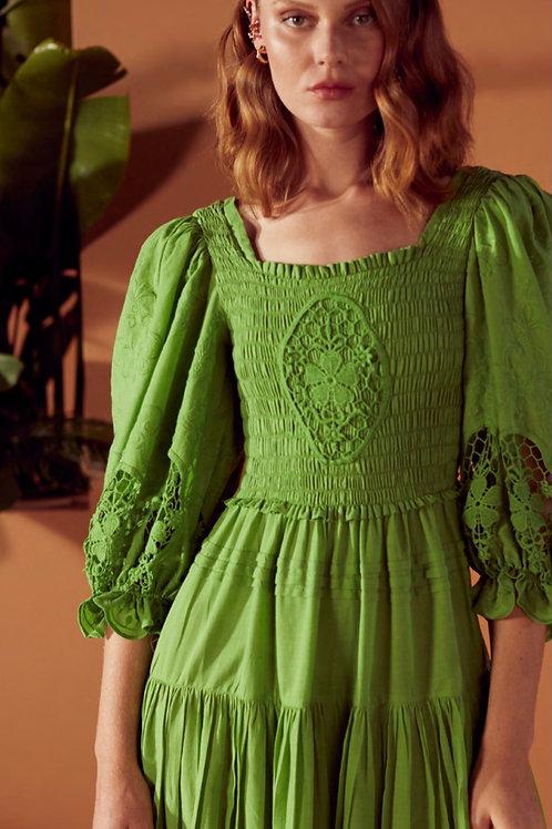 Vestido midi entremeios renda verde claro Skazi SClub