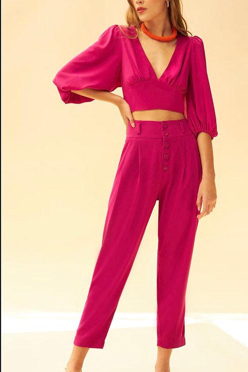 Conjunto calça alfaiataria e blusa pink Skazi Sclub