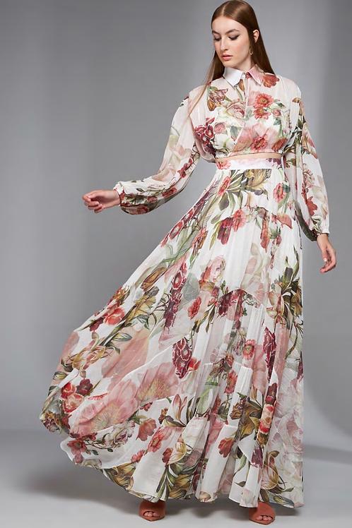 Conjunto blusa e saia longa estampa floral Skazi Sclub