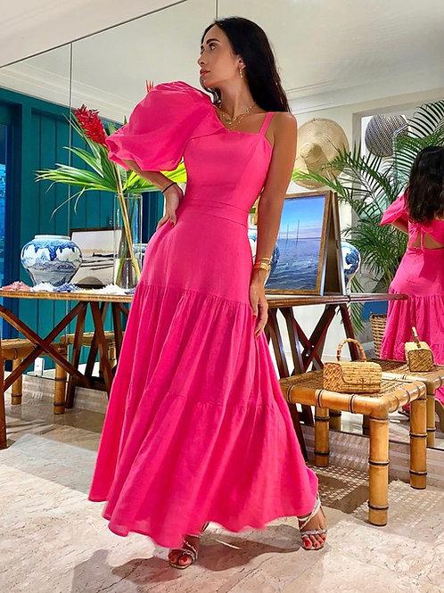Vestido detalhe manga pink Skazi Silvia Braz