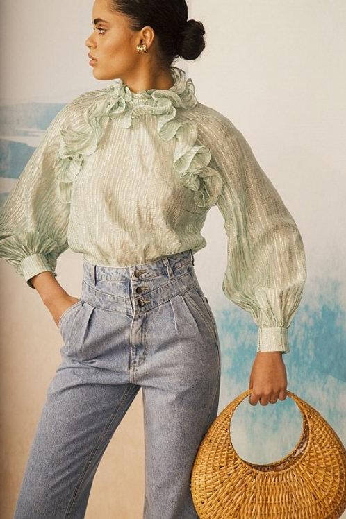 Blusa em seda babados com fios de lurex verde agua PatBo
