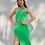 Thumbnail: Vestido longo decote diagonal verde Skazi